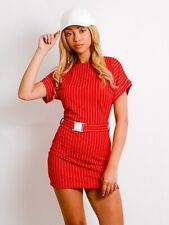 Belted Striped Mini Dress Bodycon Push Buckle Belt Short Sleeve Womens Dresses