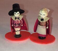 "Miniature Plastic Pilgrims Dolls Figurine 1 1/2"" Thanksgiving Diorama Playhouse"