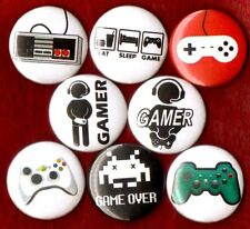 GAMER 8 NEW button pin badge video games nintendo snes xbox controller life