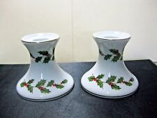 Lefton China Christmas Holly-Berries Candlesticks 05251 Set of 2