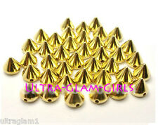 100pc / 10mm EDGY GOLD SPIKES/ STUDS SEW-GLUE ON/PLASTIC/RHINESTONES/DRAG QUEEN