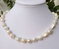 """Natural 9-10mm White Baroque Freshwater Cultured Pearl Necklace 18"""""""