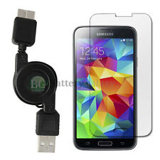 USB Retract Charger Cable+LCD Tempered Glass for Android Phone Samsung Galaxy S5