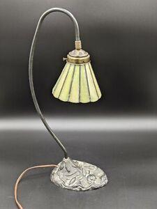 Vintage Swan Neck Desk Lamp with green leaded slag glass shade
