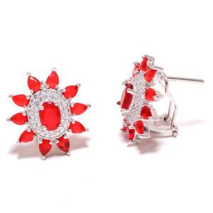 """Ruby & White Topaz Gemstone 925 Sterling Silver Handmade Earring 0.90"""" S2644"""