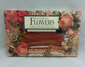 1992 VICTORIAN FLOWERS RUBBER STAMP COLLECTION 19 STAMPS & INK PAD NEW