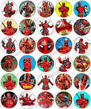30 x Deadpool Awesome Party Edible Rice Wafer Paper Cupcake Toppers