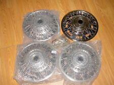 "4 NOS GM 13"" Wire Wheel Locking Hub Cap Set OE General Motors 999385 70s 80s ??"