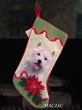 Westie Dog Needlepoint Christmas Stocking NWT