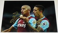 SOFIANE FEGHOULI & Manuel Lanzini West Ham personnellement signée 12X8 autographe photo