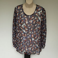 'BLUE ILLUSION' BNWT SIZE 'L' BLUE, ORANGE & WHITE LONG SLEEVE LINED CRINKLE TOP