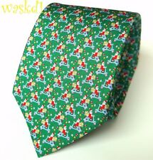 SALVATORE FERRAGAMO green Christmas SANTA ON A SCOOTER silk MENS tie NWT Authent