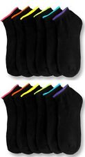 6 Pairs Lot Women Ankle Spandex Low Cut Socks BLACK Colors #70023A Size 6-8 New