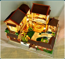 DIY Chinese Style Deluxe Wooden House Wooden Miniature Dollhouse With Furniture
