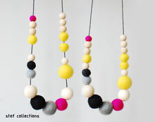 Wooden bead necklace Pink Neon felt balls, Fashionable women necklace Girl