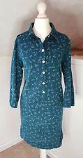 Mantaray Teal Needlecord Shirt Dress/Tunic Dandelion Print UK14 VGC
