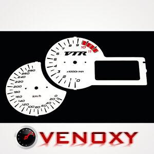 Honda VTR 1000 F 2001-2005 KM/H Aftermarket Instrument Cluster White Gauge Faces