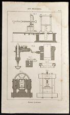1852 - Gravure arts mécaniques Presses à presser. Science, imprimerie