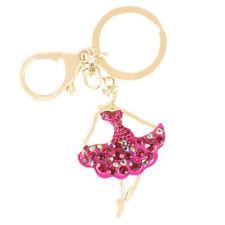 Ballet Girl Lady Lovely Pendant Charm Crystal Purse Bag Key Chain Gift