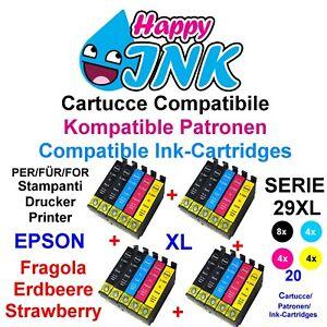 20 Cartucce per Epson Serie 29 XL Fragola XP 235 245 247 255 257 332 335 342 345