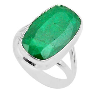 September Sale 14.88cts Solitaire Natural Green Emerald Ring Size 10 T47255