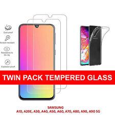 For Samsung Galaxy A20e A50 A40 A70 A10 Tempered Glass Screen Protector & Case