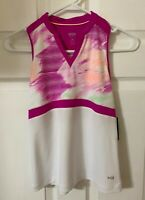 DSG Golf Girls White and lush berry Sleeveless Polo Active Shirt Top Size M