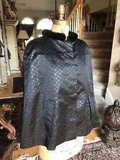 Louis Vuitton Black Silk Monogram CAPE, MINK Collar Coat Jacket, Size 36, US 4
