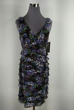 NEW Sz 10P Connected Floral V Neck Layered Ruffles Lined Knee Length Dress