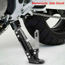 Black & Titanium Adjustable Motorcycle Side Stand Foot Kick Stand Tripod Holder