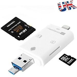 3 in 1 USB Flash Drive TF Card iReader iDrive iFlash Driver OTG Micro USB/SD/TF