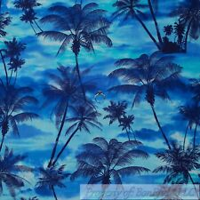 BonEful Fabric FQ Cotton Quilt Blue Tone Scenic Cloud Sky Beach Ocean Palm Tree