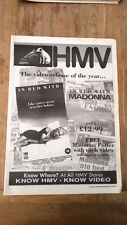 MADONNA In Bed With Madonna HMV 1991 UK Poster size Press ADVERT 16x12 inches