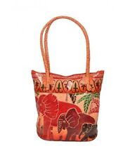 Genuine Leather India Elephant Bag Shantiniketan Tote Shopper Handmade Embossed