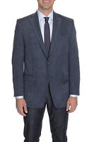 Mens 44R Ralph Lauren Classic Fit Navy Blue Textured Two Button Blazer Sportcoat