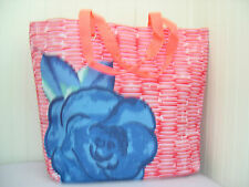 New LANCOME Orange & White with Blue Rose Tote Bag Nice