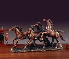 Four Wild Horses 17.5  x 8.5  Beautiful Bronze Statue / Sculpture Brand New