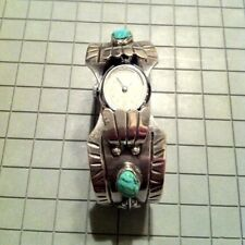 """6.75"""" Navajo Turquoise and Sterling Silver Cuff Watch"""