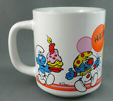 Coffee Mug Smurf Original Happy Birthday Peyo Ganz Bros 8 oz 1980s Vintage Korea