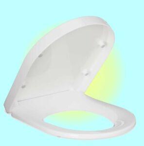 D Shape Antibacterial Soft Close Toilet Seat - White