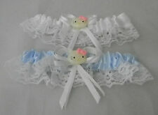 Wedding Ceremony Party Hello Kitty Fun Bridal  Garters White & Blue Toss 2 Psc