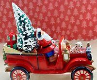 Vintage Mid Century Christmas Bottlebrush Tree Santa Claus Fire Truck Assemblage