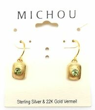 "& Gold Hook Earrings 1"" August Michou Green Peridot Rectangular Sterling Silver"