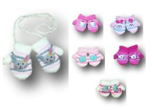 Baby Girl Toddler Winter Fluffy Mittens With String Toy Gloves Size 6-18 Months