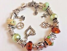 """European Style Charm Bracelet with Murano Glass Beads,Snap Clasp Closure, 9""""Long"""