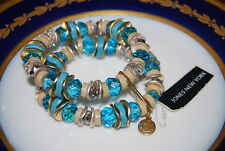 JONES NEW YORK TEAL GLASS BEADS & SILVER TONED METAL ACCENT BIG STRETCH BRACELET