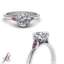 Leaf Design Milgrain Engagement Ring 0.60 Ct Round Diamond & Pink Sapphire GIA