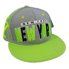 NEW YORK 3D EMBROIDERED FLAT BILL TWO TONE (GREY/LIME) COTTON SNAPBACK