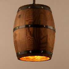 E27 Wine Wood Barrel Hanging Fixture Pendants Ceiling Lamp Light Bar Cafe US HOT