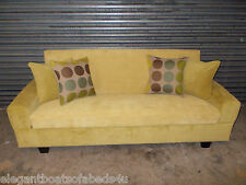 MUSTARD YELLOW SOFA BED JUMBO CORD 204CM 4 SEATER STORAGE ASSEMBLED CLICK CLACK